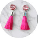 hot pink glitter stud earrings