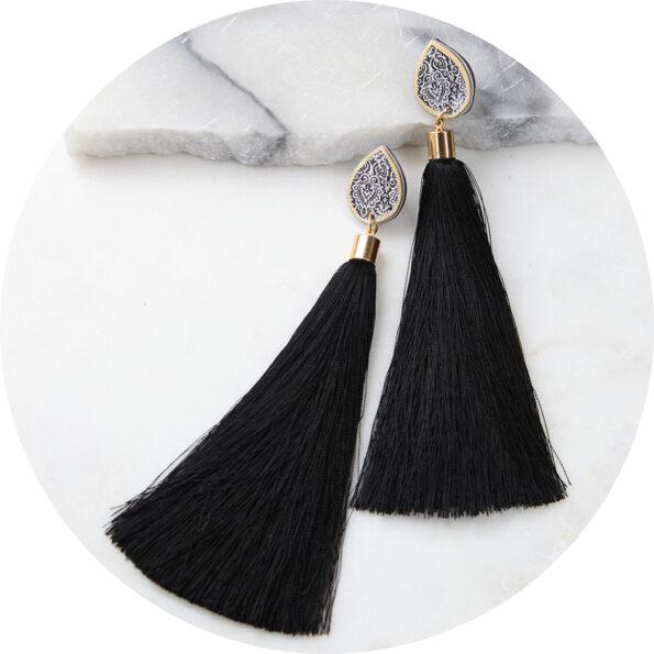 LUXE teardrop stud – catwalk silk tassel earrings