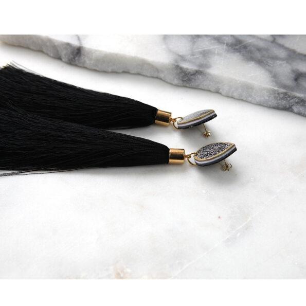 morocco teardrop stud long tassel earrings elegant unique funky NEXT ROMANCE jewellery black