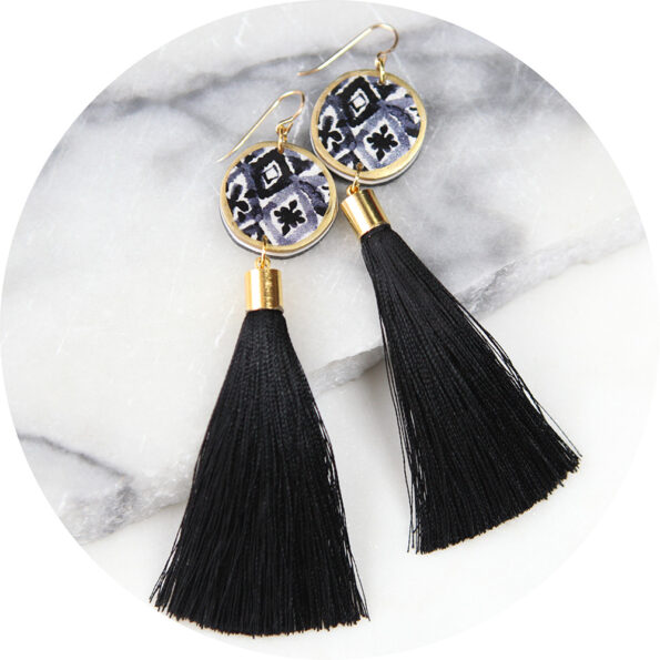 BYRON black mono watercolour ink coin tassel earrings ♥