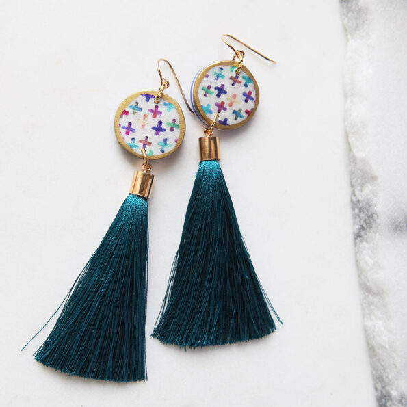 cross colourful art tassel earrings stylish unique design handmade next romance jewellery melbourne