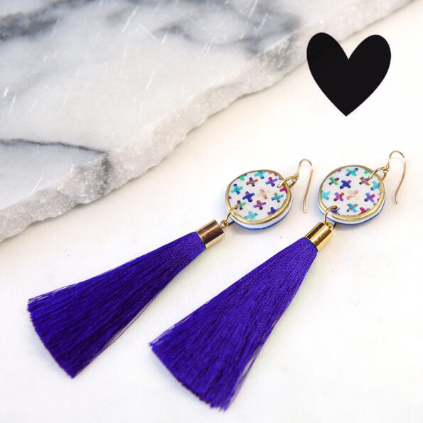 purple tassels earrings heart crosses colourful coin gold next romance jewellery