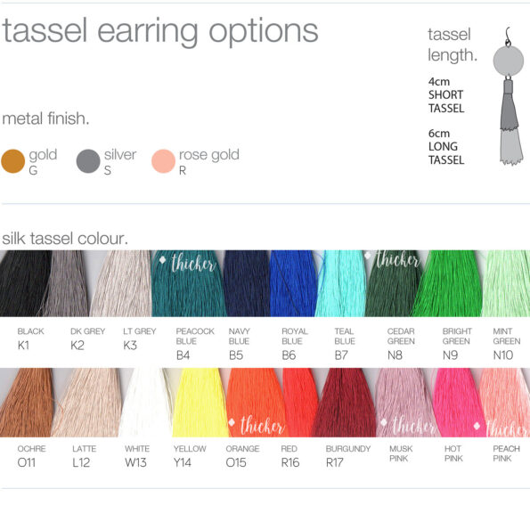 silk tassel earring colour options next romance unique jewellery australia