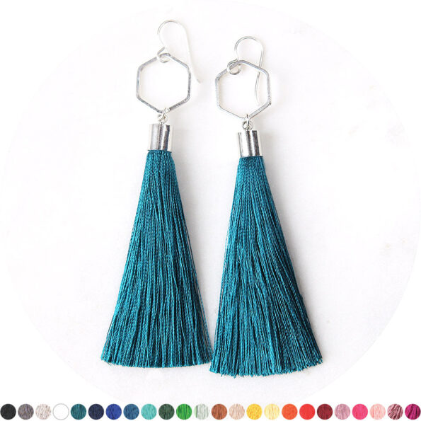– HEX TASSEL earrings SILVER – choose tassel colour
