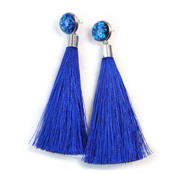 GLITTER stud tassel – with removeable silk tassel