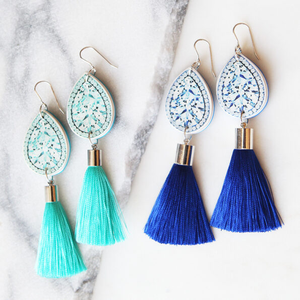 teal diamond art earrings with tassel silk next romance melbourne jewels