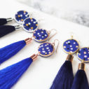 CYGNUS navy polkadot tassel art earrings COLOURS blue - Next Romance X Devoi