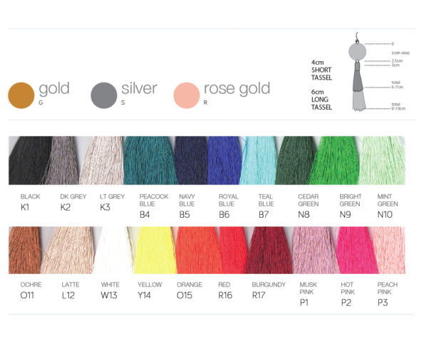 tassel earrings colour guide order forms NEXT ROMANCE jewellery australia