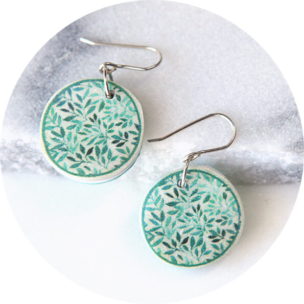 GARDEN watercolour art earrings – green foliage