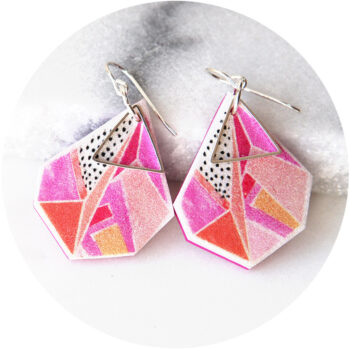 new devoi collaboration GEO Triangle art earrings triangle pink NEXT ROMANCE