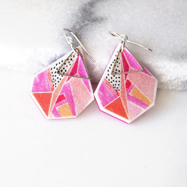 new devoi collaboration statement geo art earrings triangle pink NEXT ROMANCE