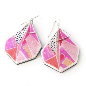 new devoi collaboration statement geo art earrings triangle pink NEXT ROMANCE closeup