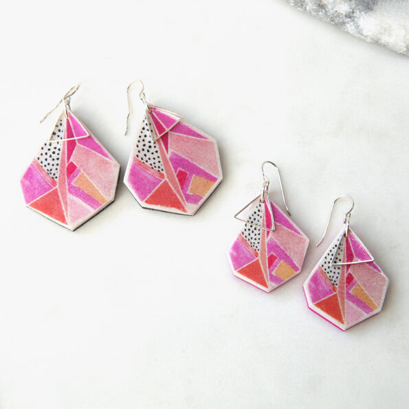new devoi collaboration statement geo art earrings triangle pink NEXT ROMANCE sizes