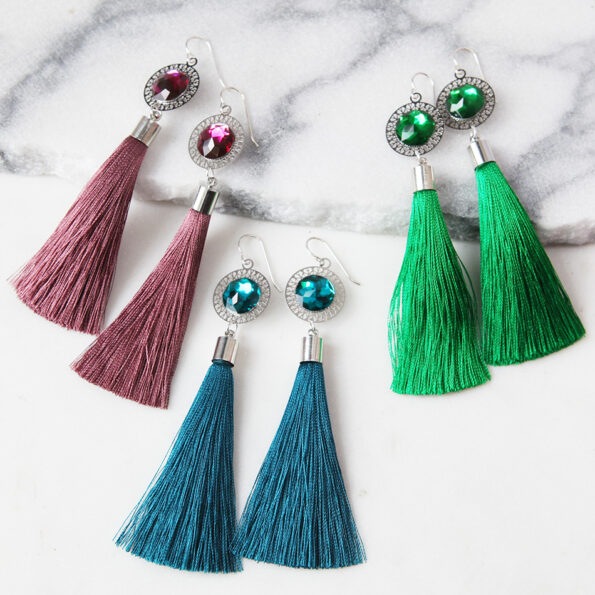 OTHELLO TASSEL earrings silver – choose colour