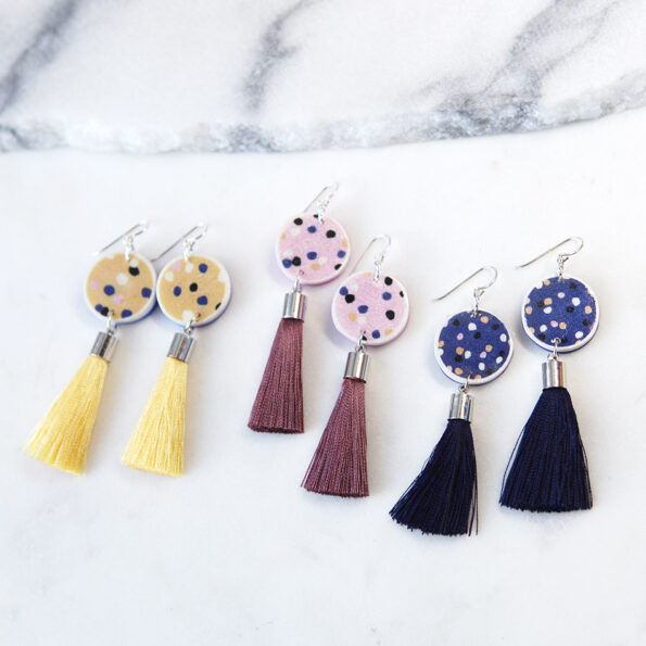 pink lemon yellow navy musk polkadot earrings tassel NEXT ROMANCE