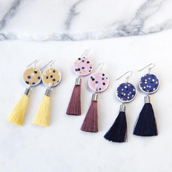 pink lemon yellow navy musk polkadot earrings tassel NEXT ROMANCE