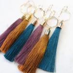 pink musk peacock oghre mustard tassel earrings HEXAGON