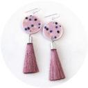 pink musk polkadot earrings tassel NEXT ROMANCE