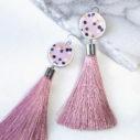 pink polkadot tassel earrings long DEVOI collab NEXT ROMANCE vicki leigh