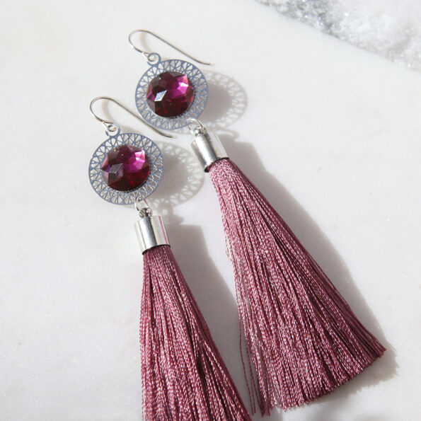 rose pink tassel othello tassel facet resin halo lasercut earrings next romance