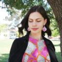 statement unique earrings australian design ping geometric NEXT ROMANCE x DEVOI fashion label julz model