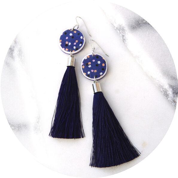 DEVOI CYGNUS navy polkadot tassel art earrings – Next Romance X Devoi