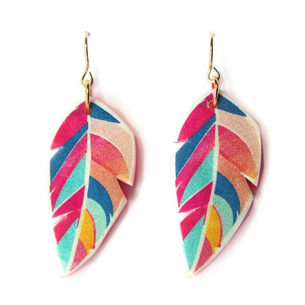 GRAPHIC ART FEATHER earrings – Peach Teal
