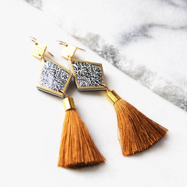 zakaria drop with tassel art earrings unique design Next Romance accessories Australia