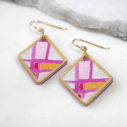 ARA square art earring GOLD TRIM