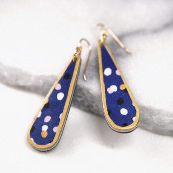 CYGNUS navy long drop earrings GOLD TRIM next romance DEVOI collab Melbourne