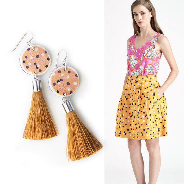 DEVOI CYGNUS sunshine yellow polkadot tassel art earrings – Next Romance X DEVOI