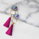 blue painter moon dancer with raspberry magenta silk tassel earrings NEXT ROMANCE jewellery