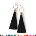 black gold tassel earrings hexagon NEXT ROMANCE