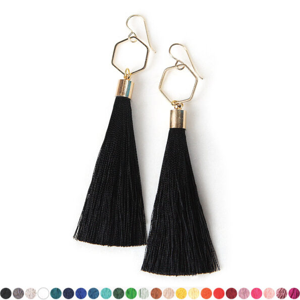 – HEX TASSEL earrings GOLD – choose tassel colour