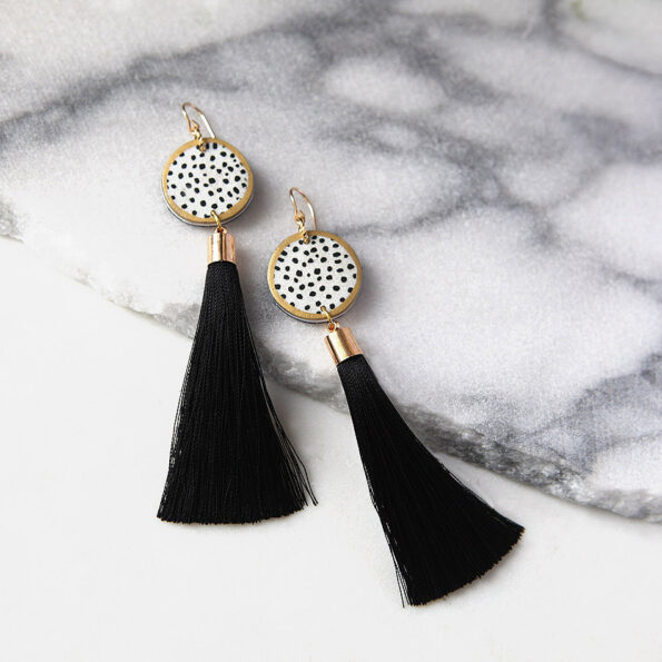 black ink dot tassel art earrings DEVOI x NEXT ROMANCE.JPG
