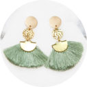 brass cotton tassel fan coin earrings green NETX ROMANCE new jewellery