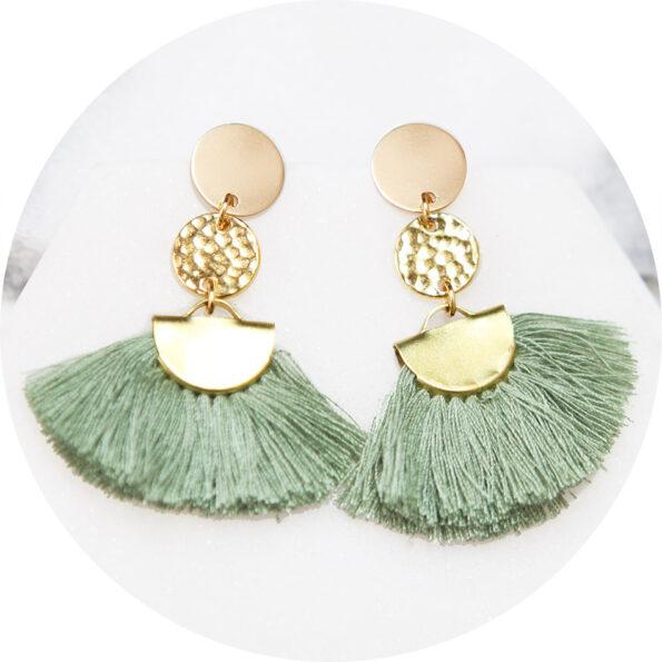 FUN FAN tassel earrings medium green – ONE ONLY