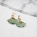 brass cotton tassel fan coin earrings pale green NEXT ROMANCE new jewellery