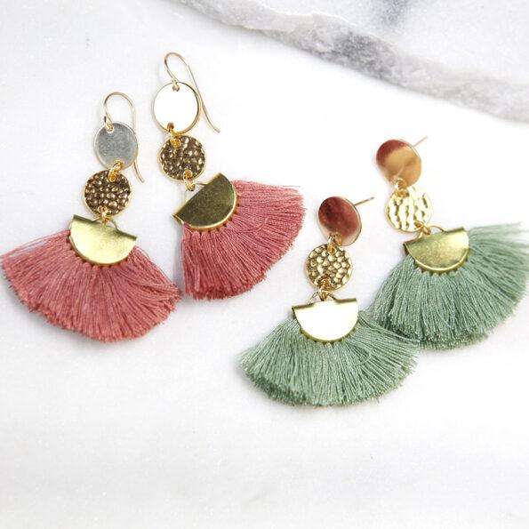 brass cotton tassel fan coin earrings pink green NEXT ROMANCE new jewellery