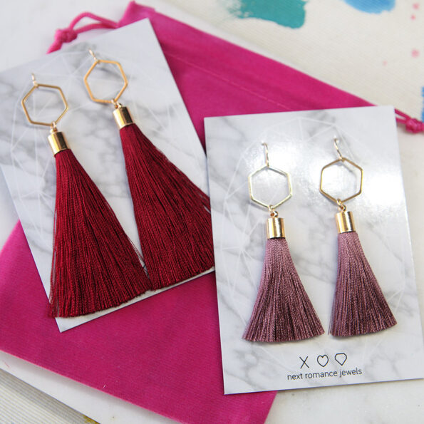 burgundy and dark musky pink HEX tassel earrings NEXT ROMANCE jewellery