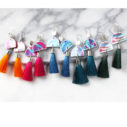 cha cha painted dancer art earrings tassels silk NEXT ROMANCE JEWELLERY