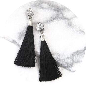 clipon BLACK tassels earrings NEXT ROMANCE gel glitter black