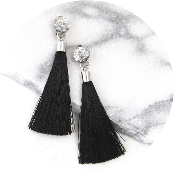 GLITTER stud CLIP ON tassel earrings