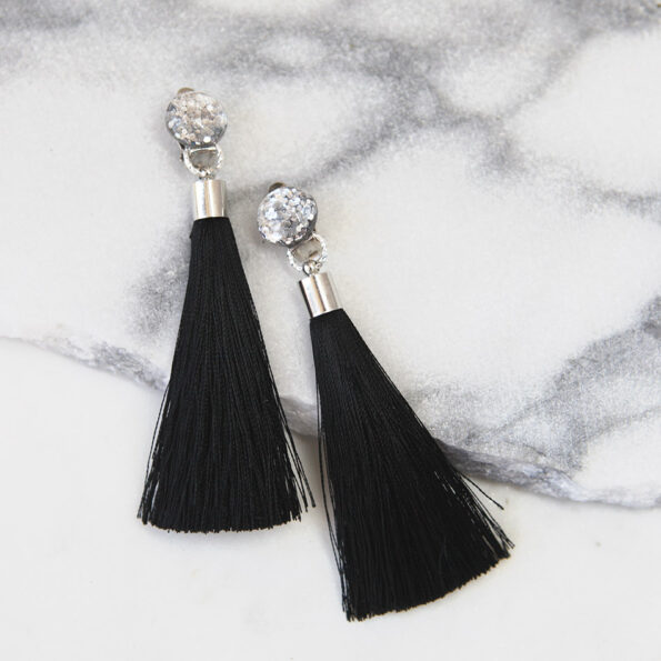 clipon tassels earrings NEXT ROMANCE gel glitter silk