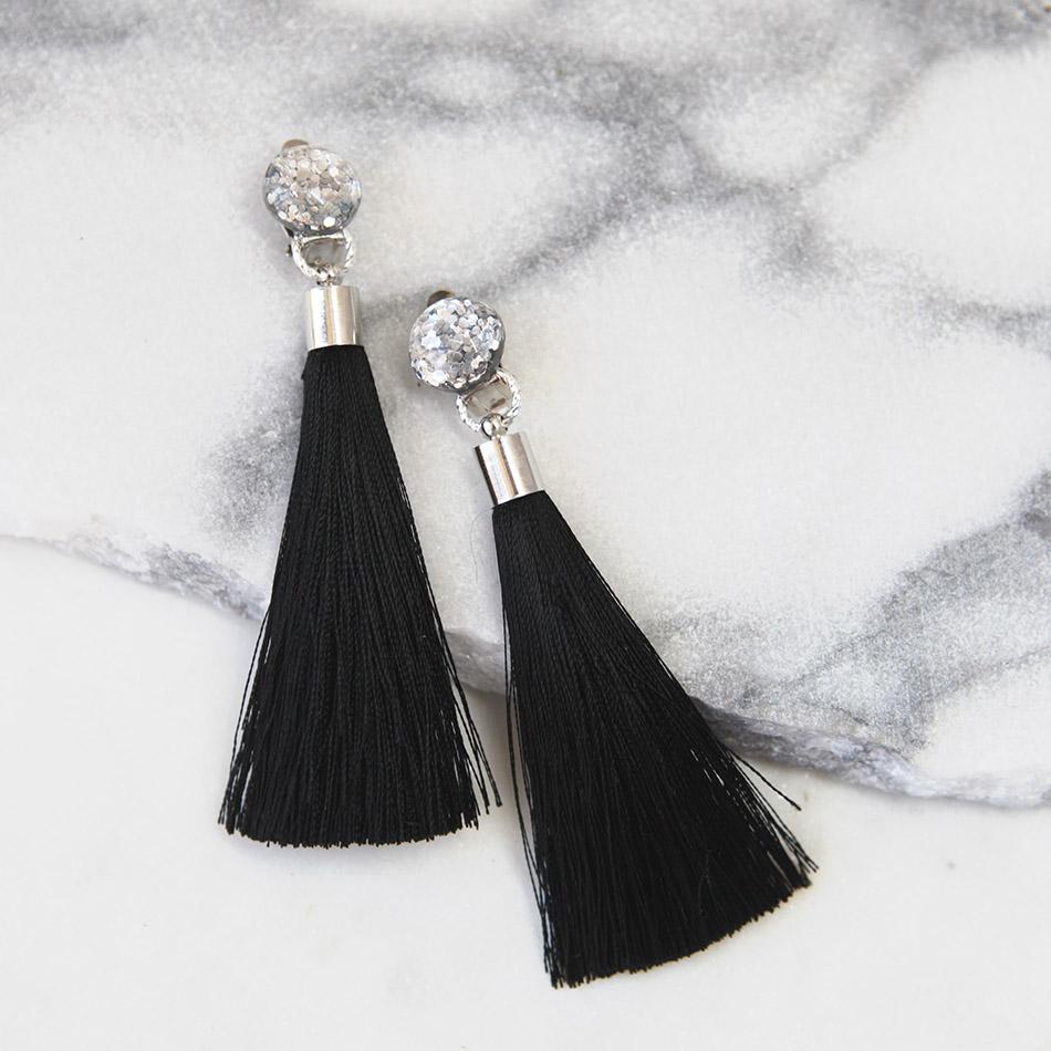 Glitter Stud Clip On Tassel Earrings Unique Art