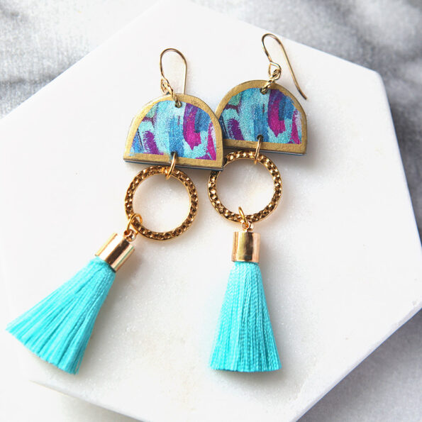 DANCING painter unique coin tassel ART earrings – teal luxe