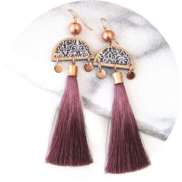 MARRAKESH gypsy boho tassel art bead earrings – ROSE GOLD choose tassel colour