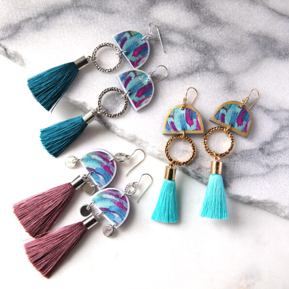 fun tassel art earrings painted dancer NEXT ROMANCE jewellery melbourne