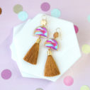 next romance tassel earrings painted moon gold hammered hooks unique funky jewellery australia