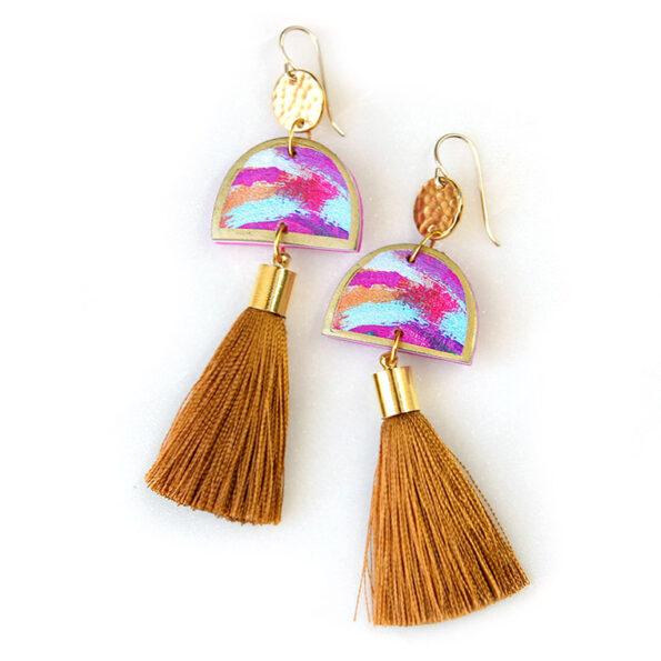 DANCING painter tassel ART earrings – gold